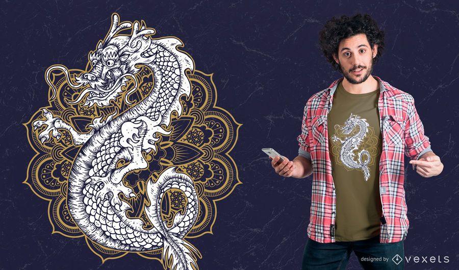 Diseño de camiseta de dragón chino mandala