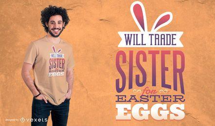 Diseño de la camiseta de la hermana del comercio para los huevos