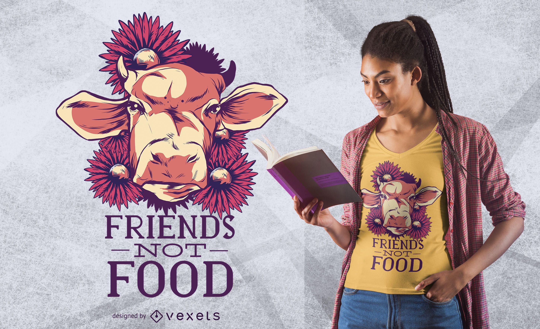 Diseño de camiseta Friends Not Food