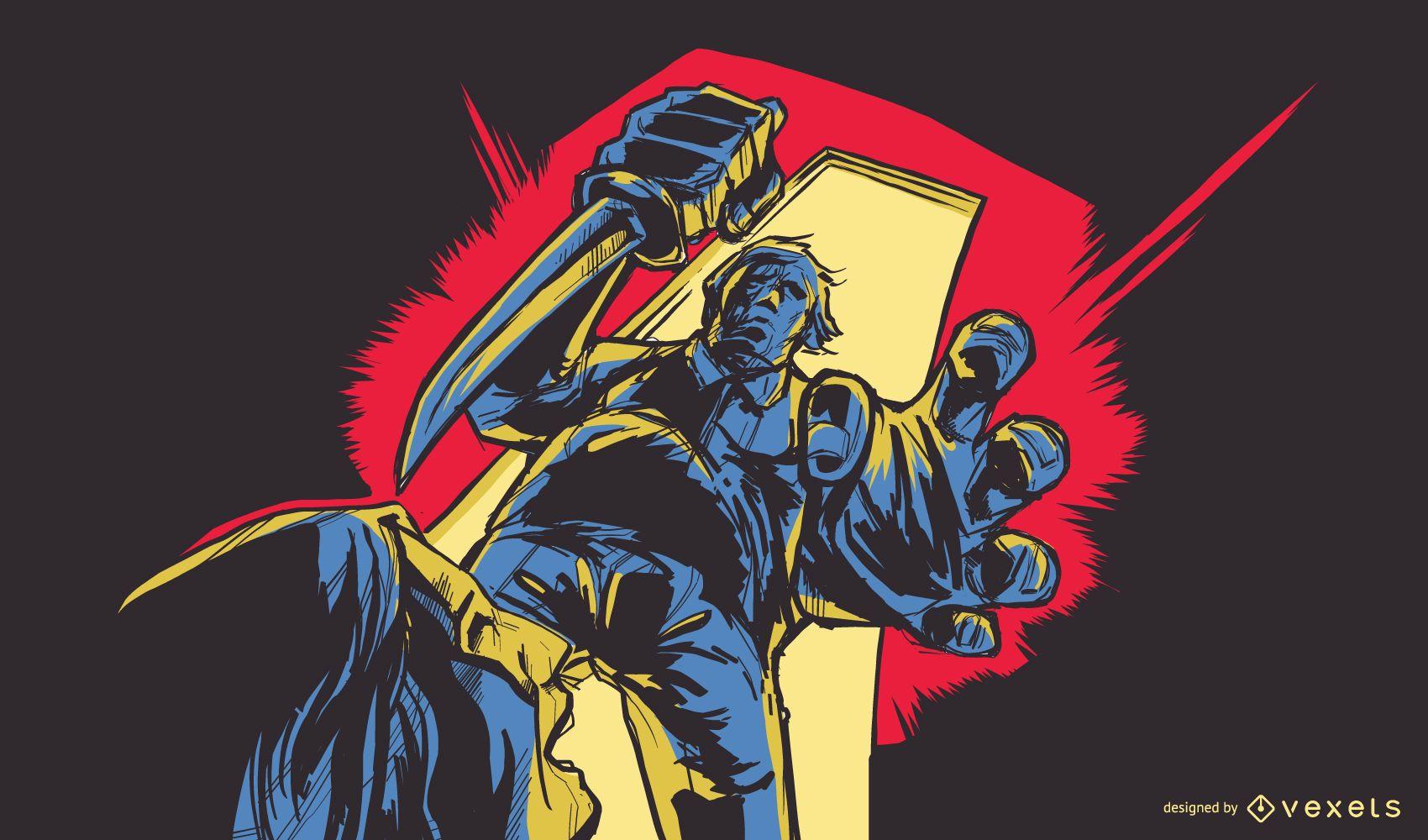 Ilustración de personaje de terror