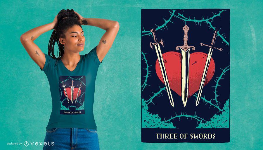 Projeto do t-shirt do cartão de Tarot das espadas