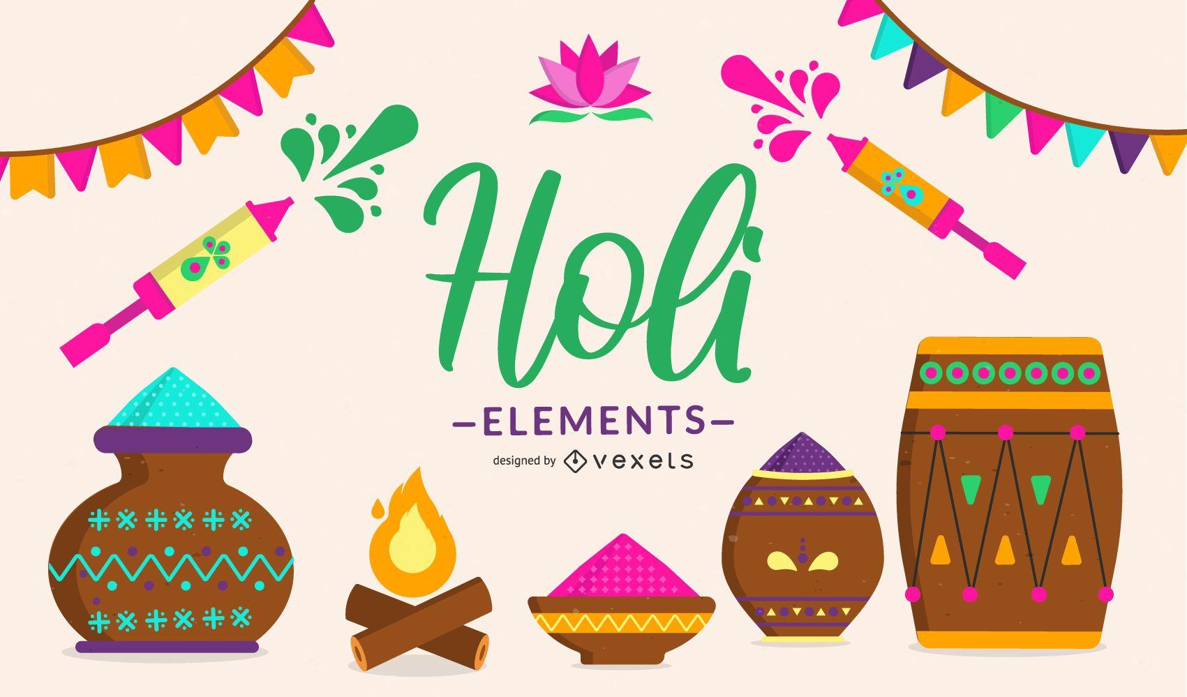 Ilustración de elementos del festival de Holi