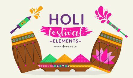 Diseño de elementos del festival Holi