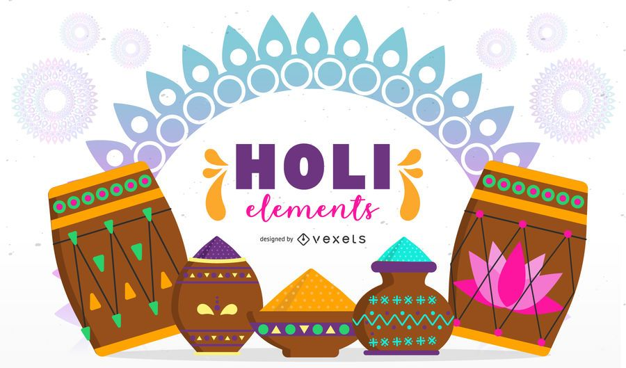 Holi Elements Illustration Design