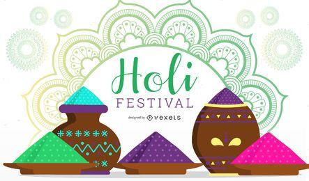 Diseño de ilustración del festival Holi