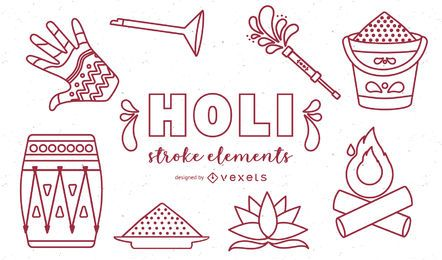 Holi Elements Schlaganfall-Icons