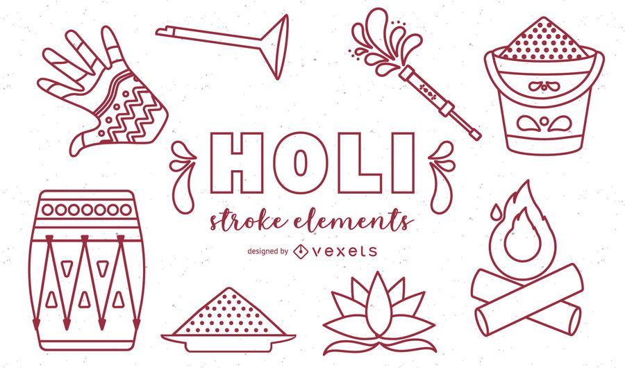 Holi Elements Stroke Icons