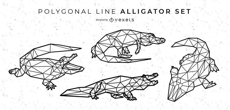 Diseño de cocodrilo de línea poligonal