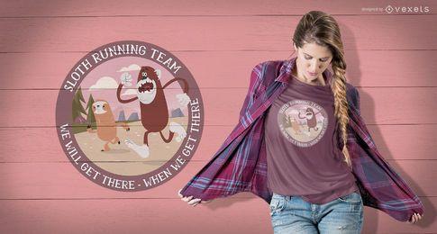 Diseño de camiseta Sloth corriendo