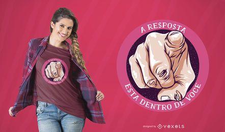 Diseño de la camiseta de la cita de la respuesta portuguesa