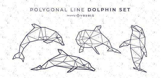 Línea poligonal de diseño de delfines.