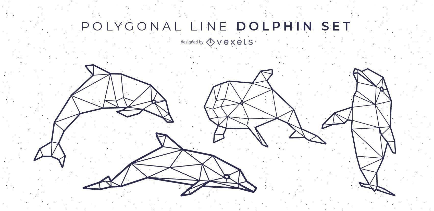 Dise?o de delfines de l?nea poligonal