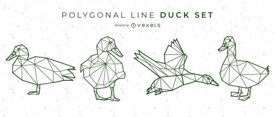 Línea poligonal diseño pato