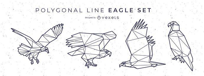 Diseño de águila de línea poligonal