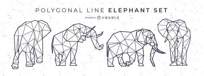 Diseño de elefante de línea poligonal