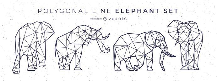 Polygonal Line Elephant Design