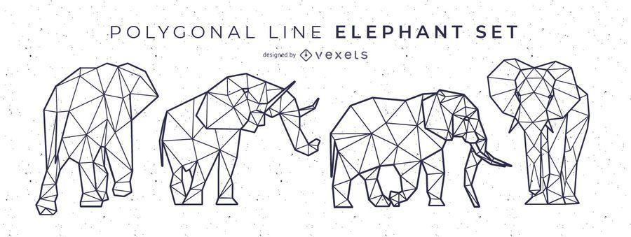 Línea poligonal elefante diseño