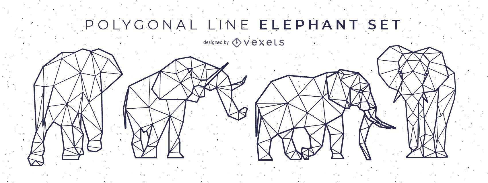 Dise?o de elefante de l?nea poligonal