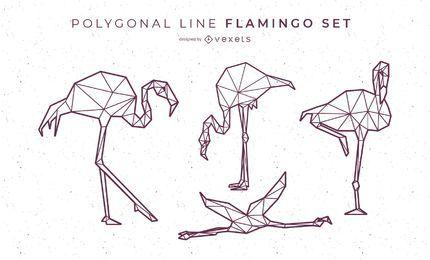 Diseño de flamenco de línea poligonal