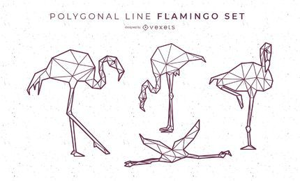Polygonale Linie Flamingo Design