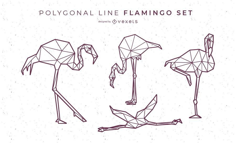Polygonal Line Flamingo Design