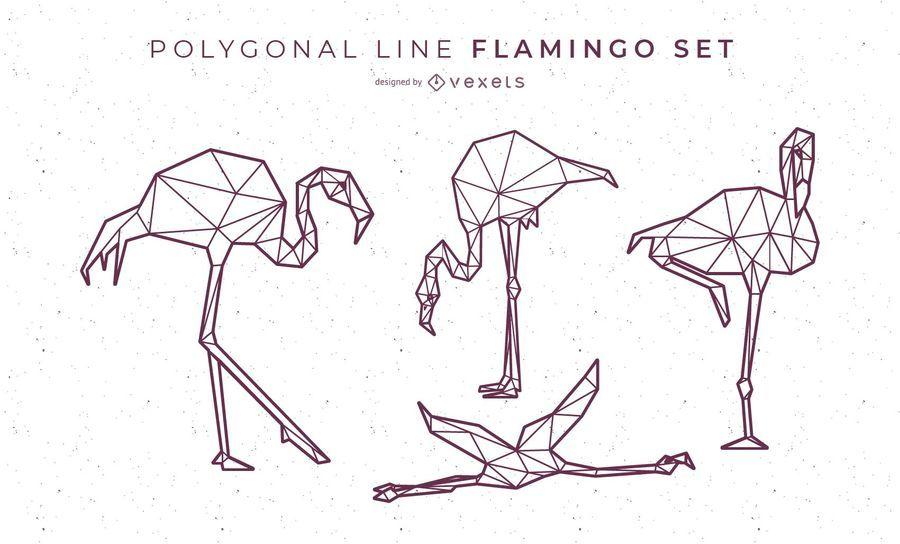Polygonale Linie Flamingo Design