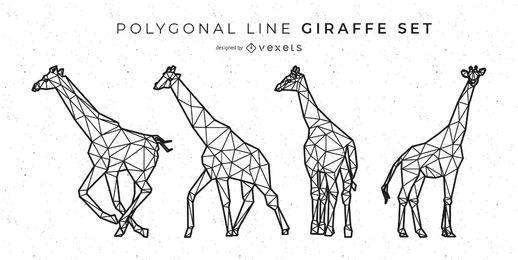 Conjunto de girafa linha poligonal