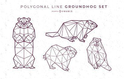 Diseño de marmota de línea poligonal