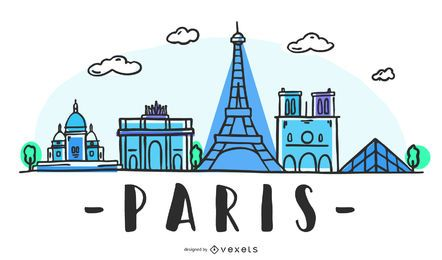 Paris Skyline diseño dibujado a mano