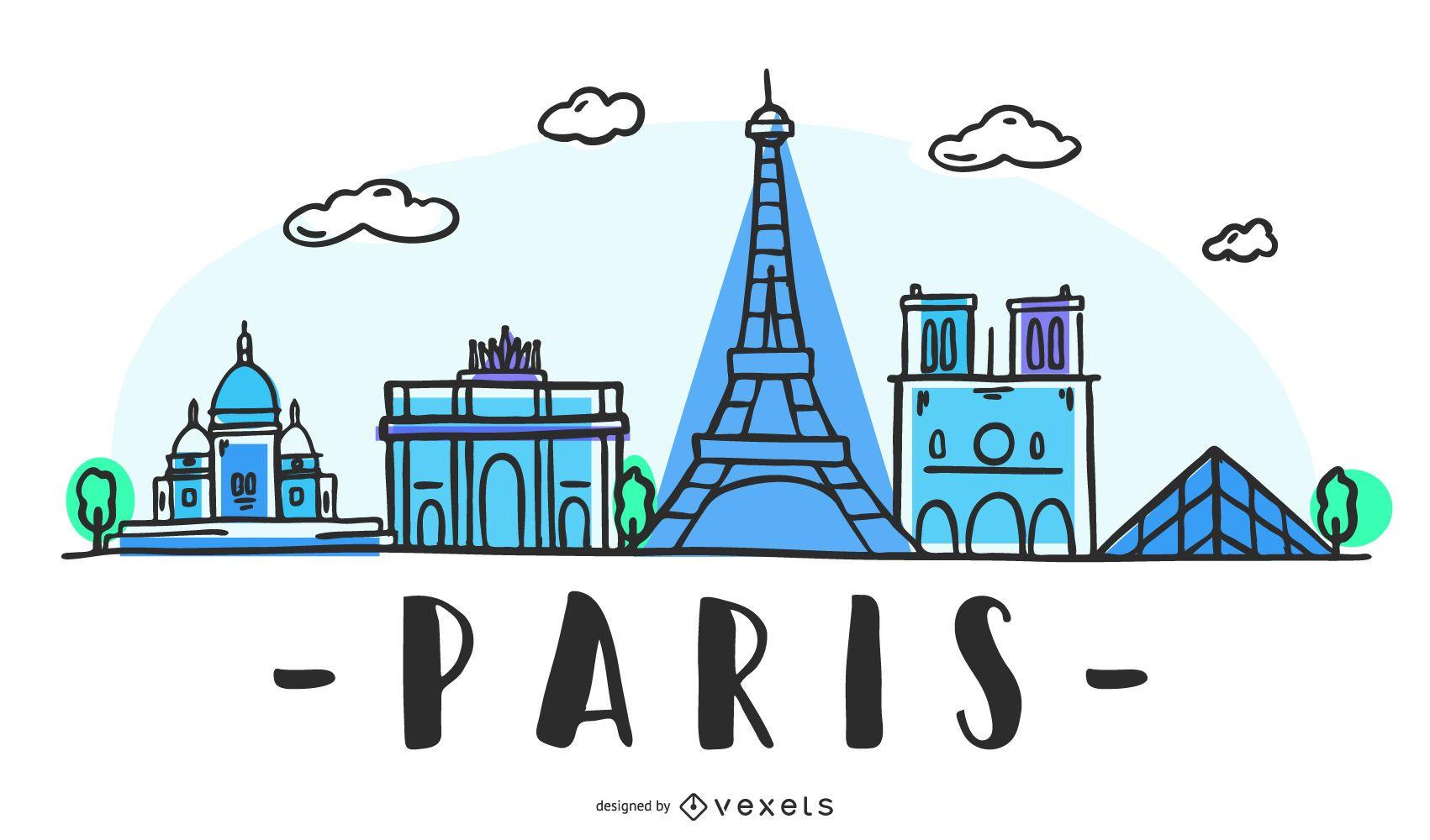 Paris Skyline Hand Drawn Design