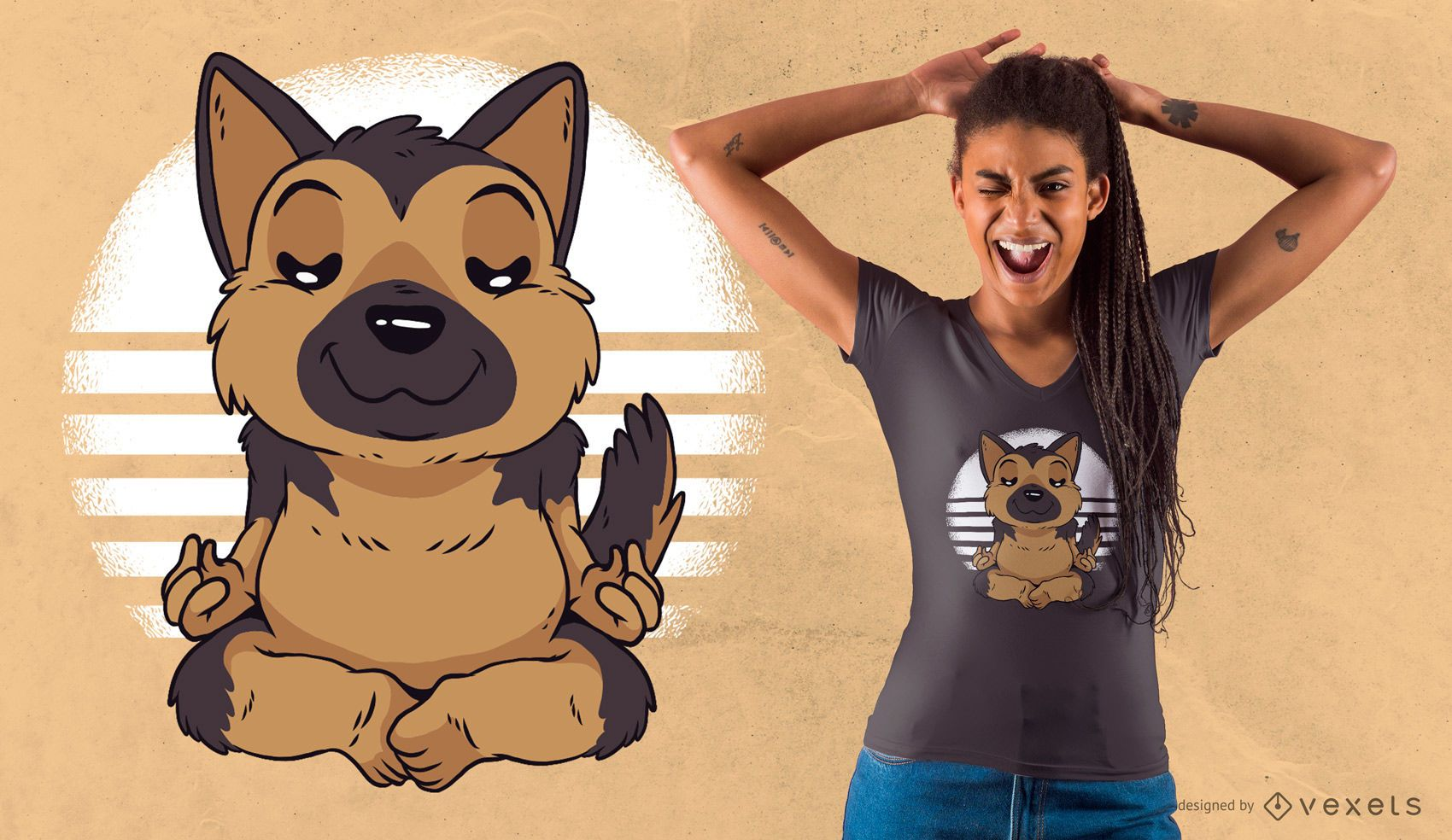 German Shepherd Yoga T-Shirt Design