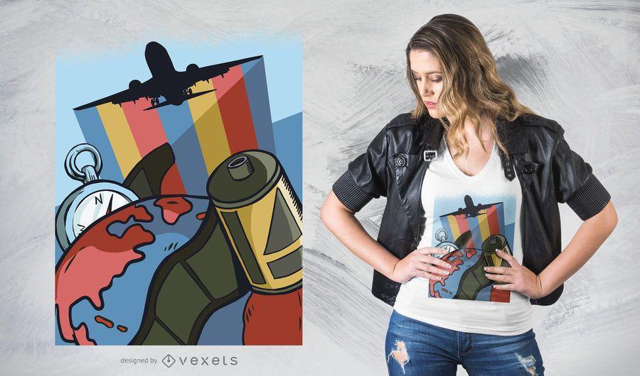 Viaja por el mundo diseño de camiseta