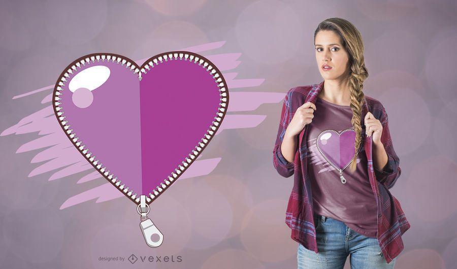 Zipper Heart Teens T-Shirt Design