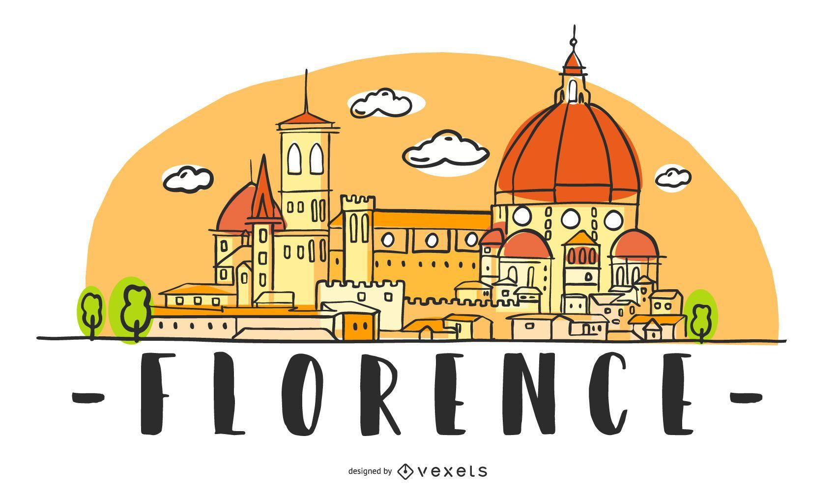 Florence Skyline Illustration