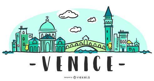 Ilustración del horizonte de Venecia
