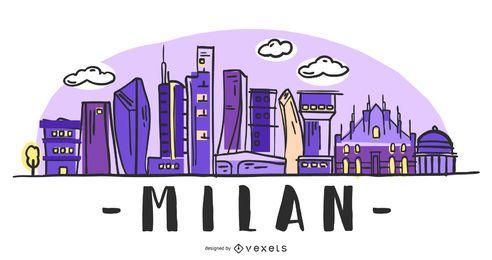 Diseño del horizonte de Milán Italia