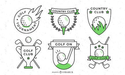 Coleção de distintivos de esporte de golfe