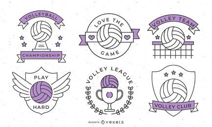 Volleyball Sport Badges Design