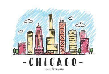 Diseño del horizonte de Chicago Estados Unidos