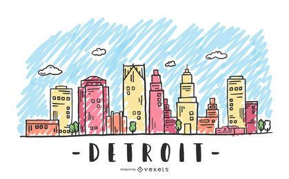 Detroit, USA Skyline Design
