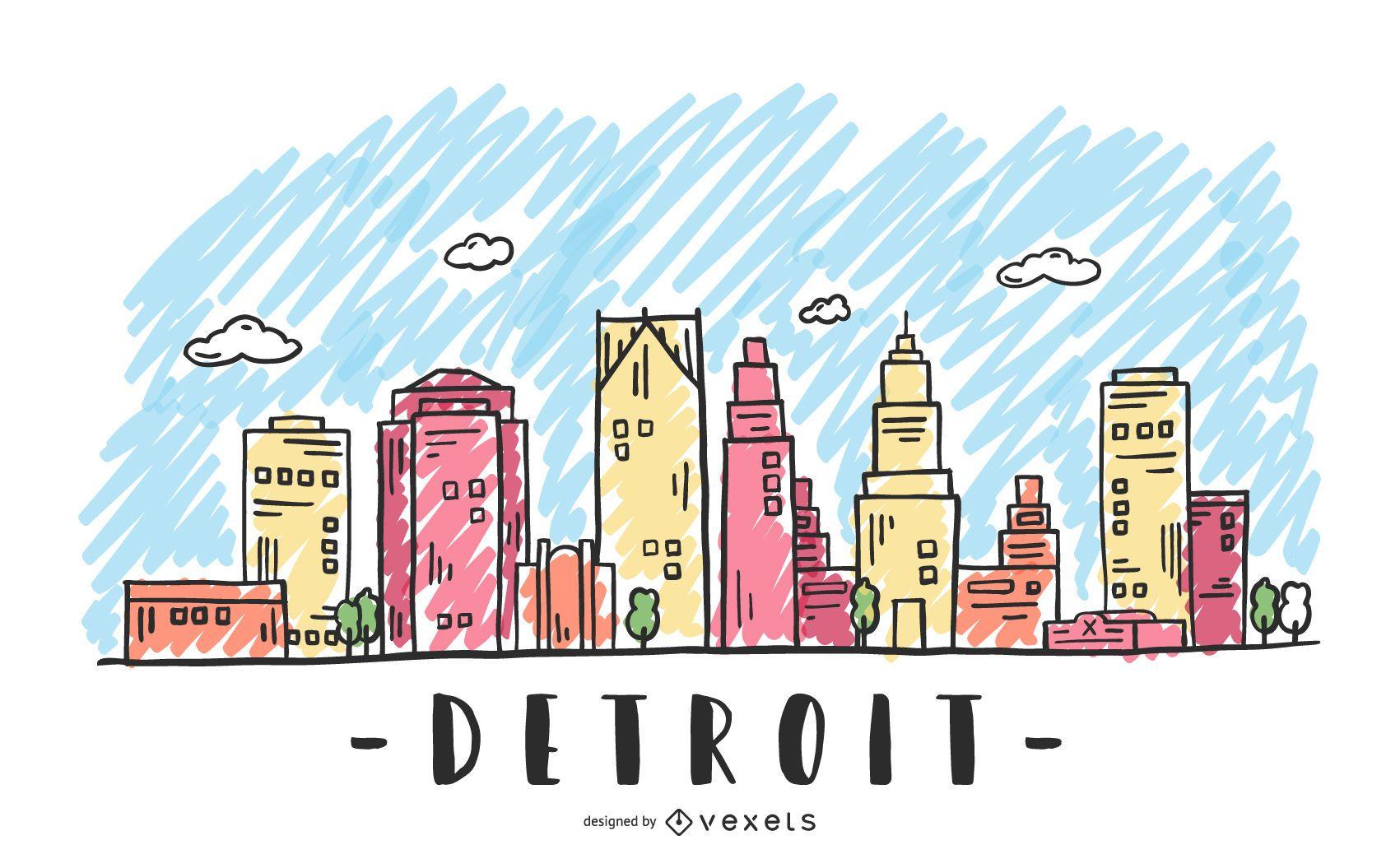 Detroit USA Skyline Design