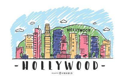 Ilustração do horizonte de hollywood