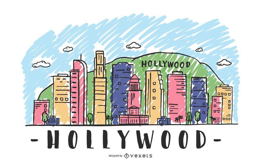 Ilustración del horizonte de hollywood