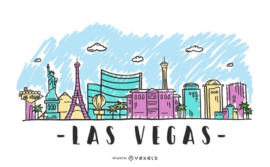 Ilustração do skyline de Las Vegas