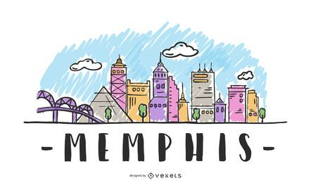 Memphis USA Skyline Design