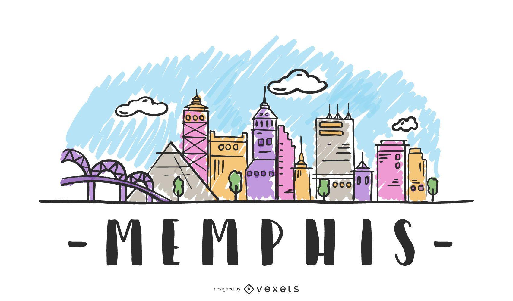 Memphis USA Skyline Design