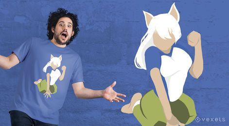 Diseño de camiseta de niña gato