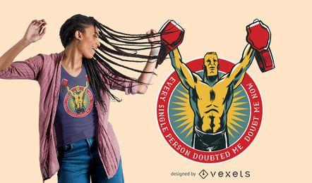Projeto do t-shirt das citações dos lutadores
