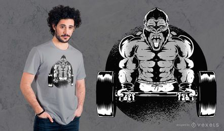 Diseño de camiseta de gorila con mancuernas