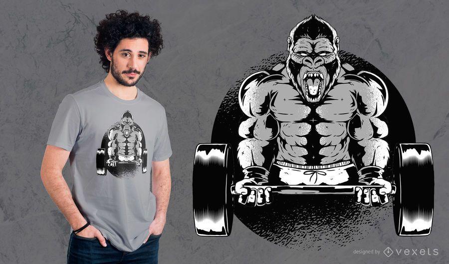 Design do t-shirt do Dumbbell do gorila